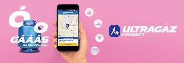 """Ilustração com fundo rosa sobre o aplicativo Connect, da Ultragaz. Do lado esquerdo tem a frase: """"Ó o gás"""" juntamente com um botijão azul, no centro uma mão segurando um celular com o aplicativo Connect aberto e, do lado direito a frase """"Ultragaz Connect"""""""