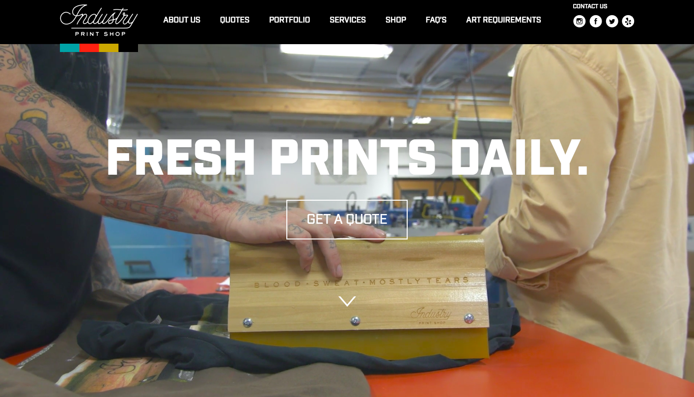 "The Industry Print Shop ""hero video"" provides every visitor a ""Wow!"" moment right from the start."
