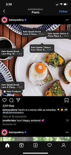 Kate Spade Instagram visual effect