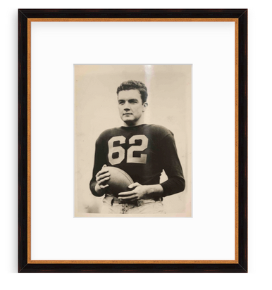 vintage framed picture of football player