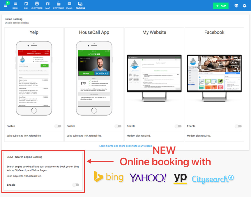 Online Booking: Bing, Yahoo, Yellow Pages & City Search