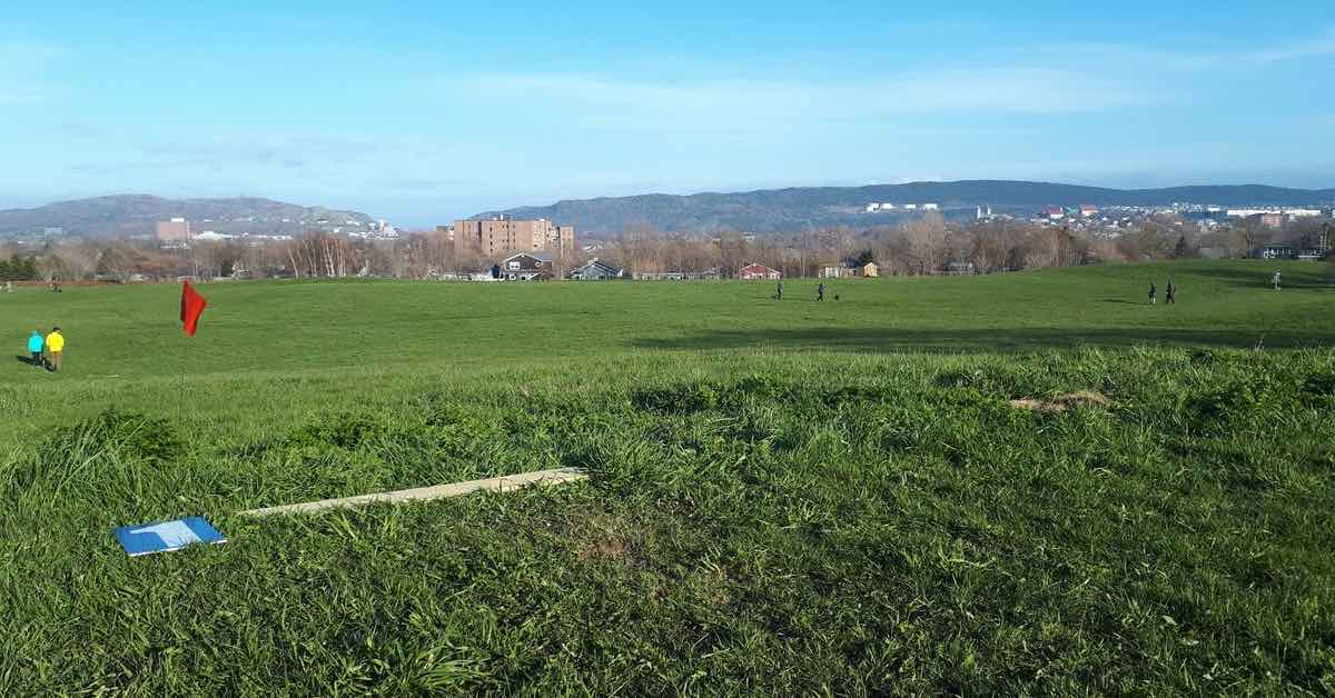 A large, mown grassy area with a view of a city and hills in the distance