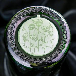 Green Floral Glass Pendant
