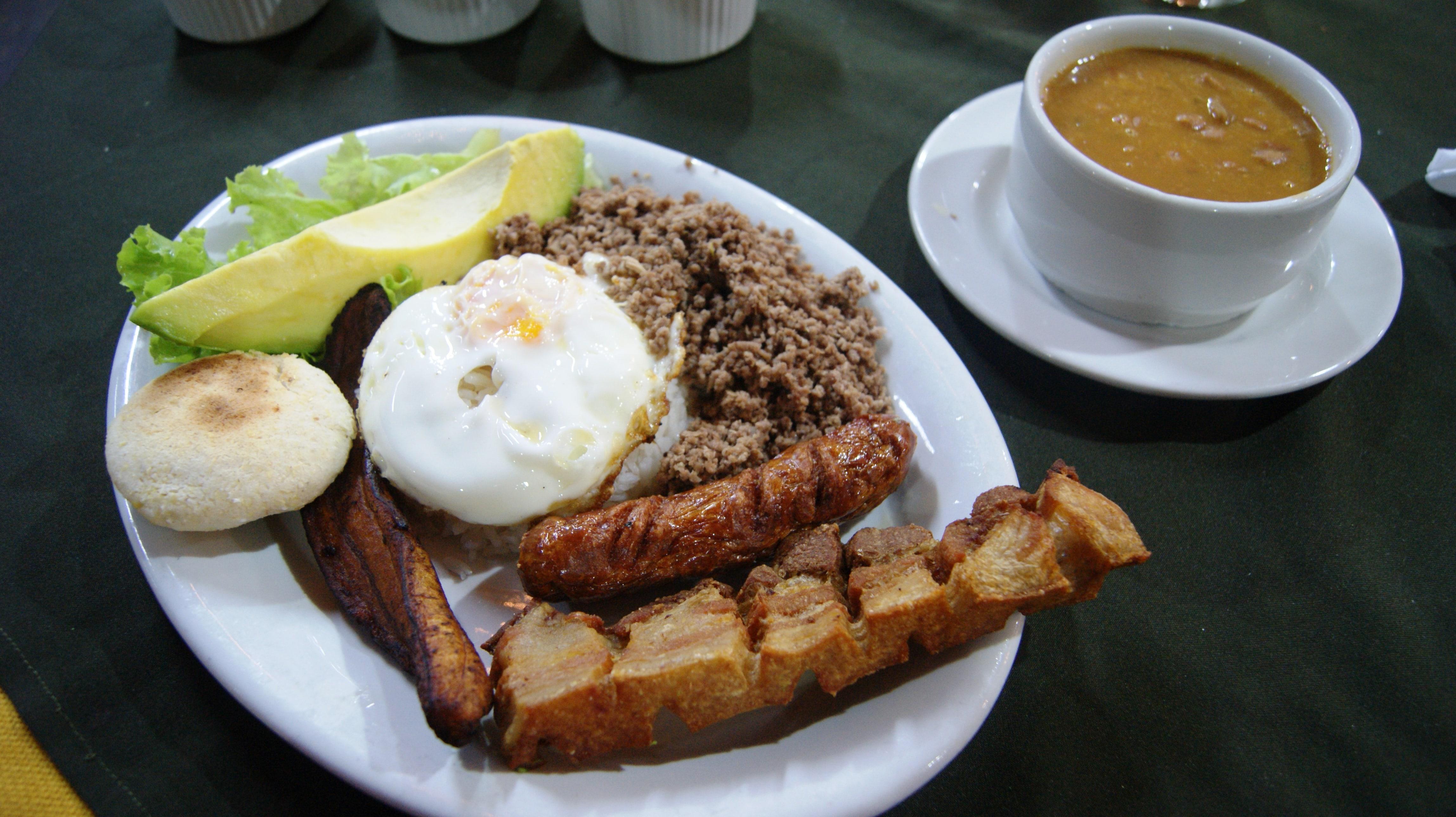 bandeja paisa in Medellin Colombia is great Colombian food