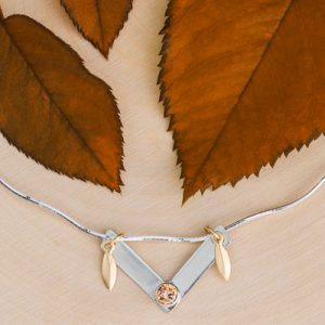 Champagne CZ necklace with y-link and leaf charms