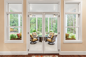 Inswing French patio door opening to a deck