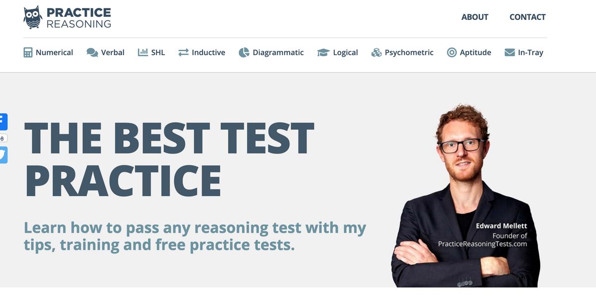 practice reasoning website screenshot