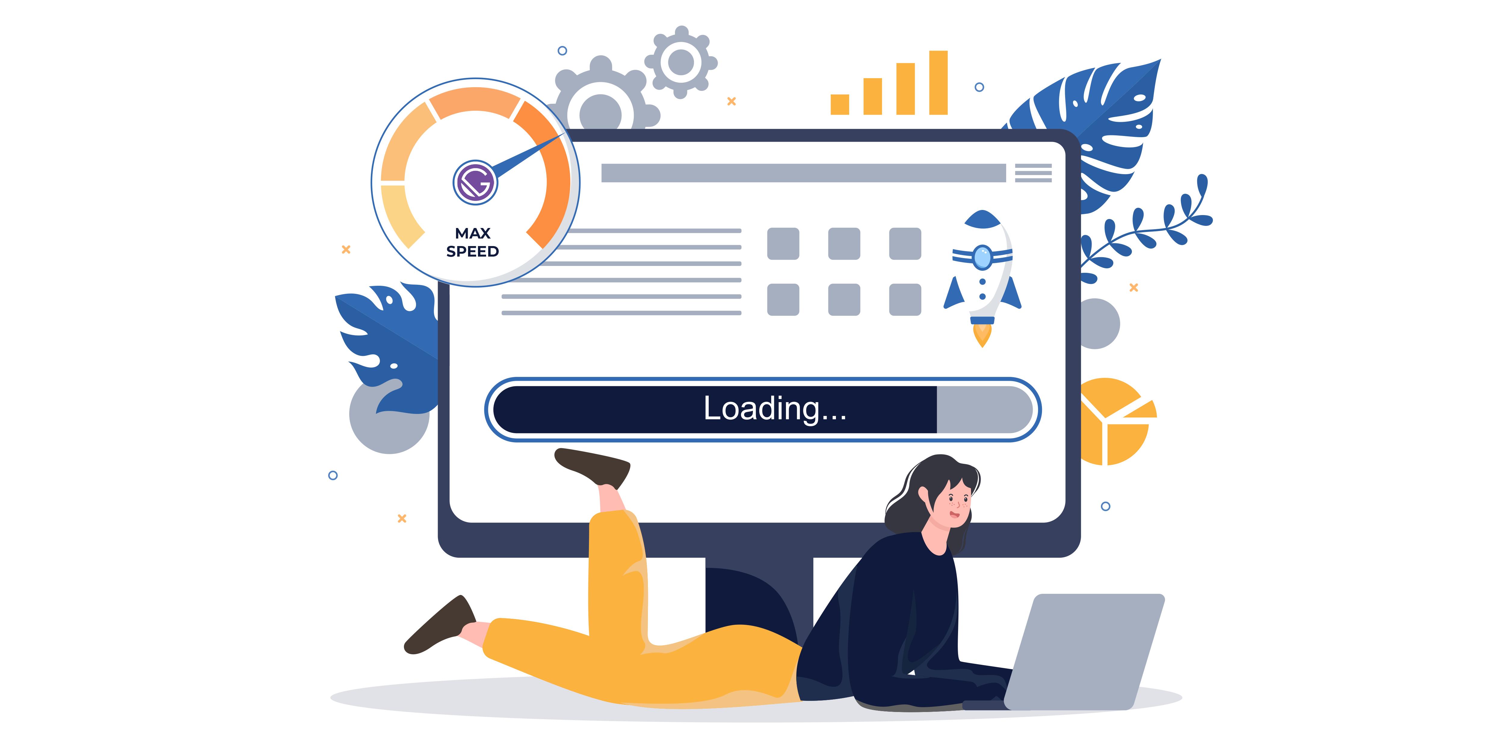 Illustration: A woman lays on the ground with her laptop surrounded by icons representing gatsby's speed