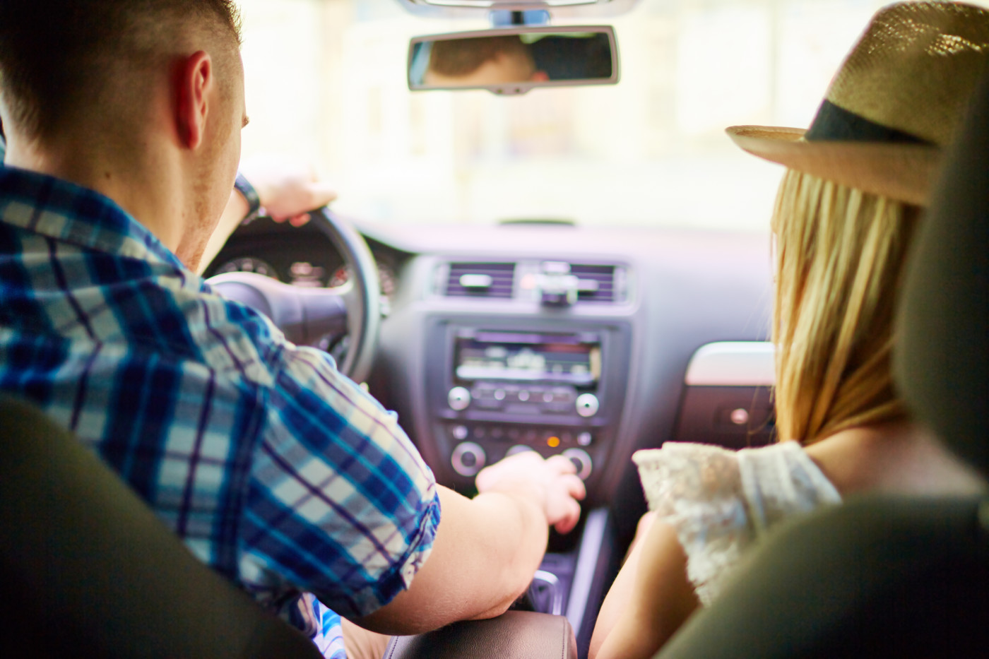 couple sitting together in a car
