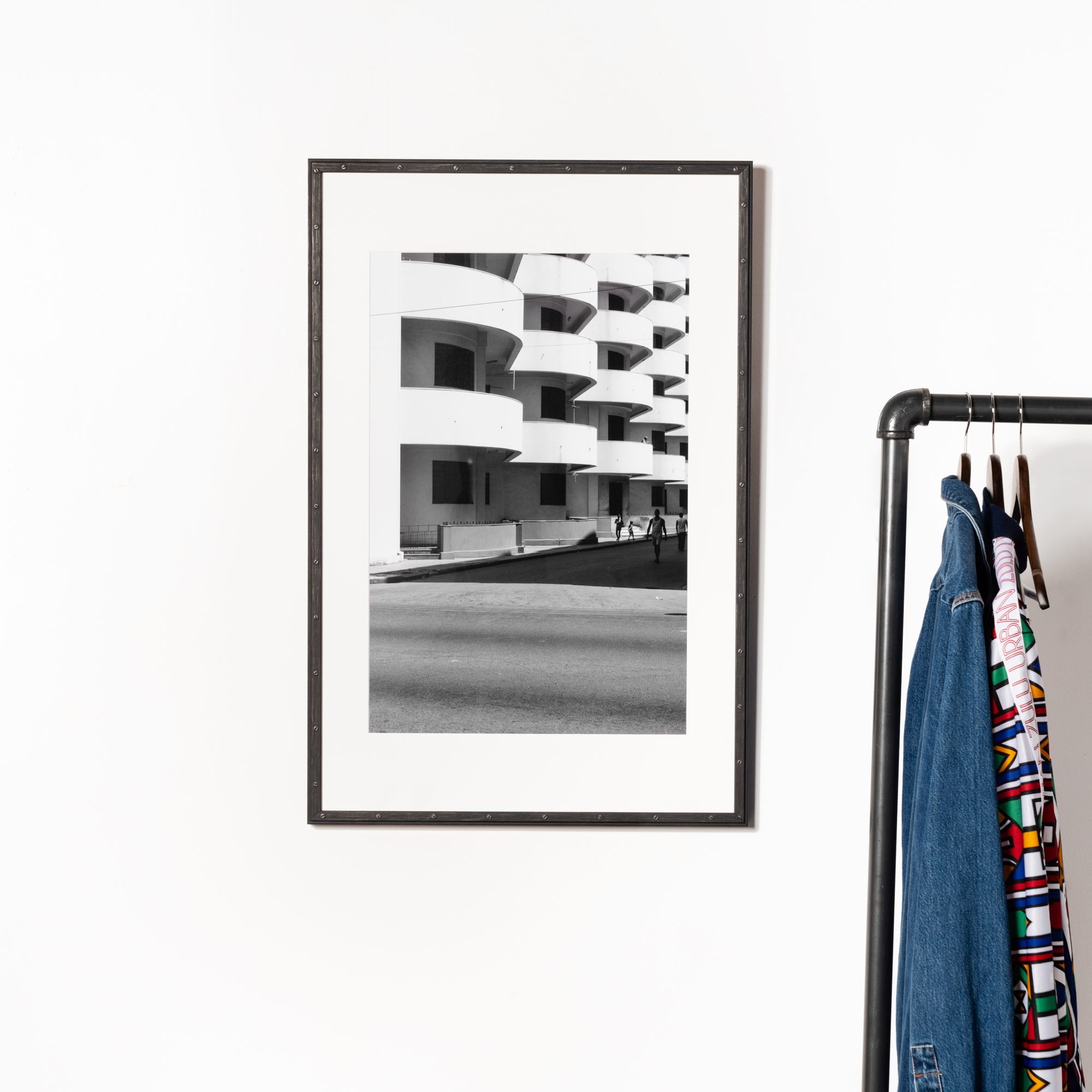 photo of balconies in black and white in black frame