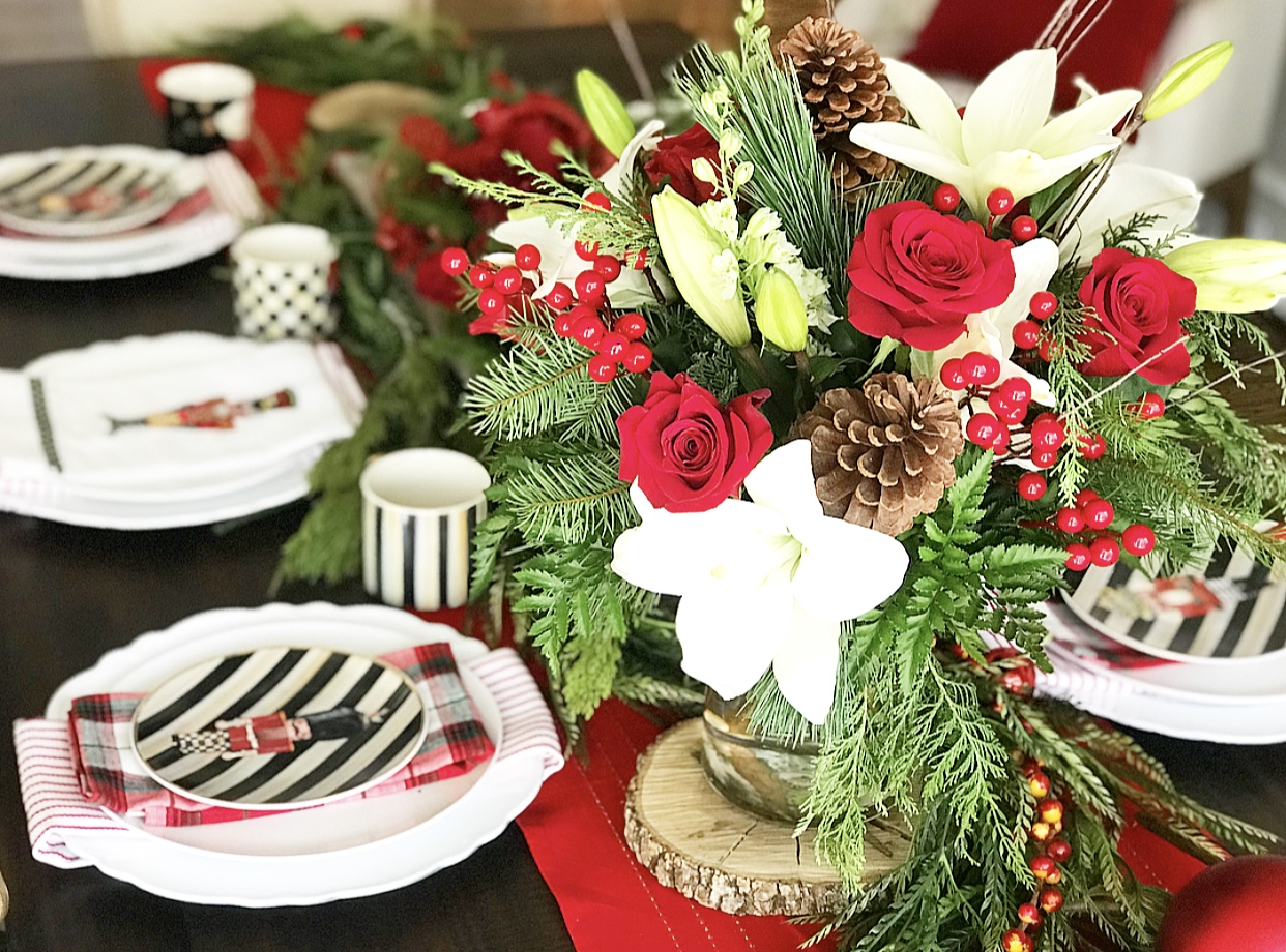 Christmas Table Centerpiece with Red Roses, White Lilies, Holly and Pine