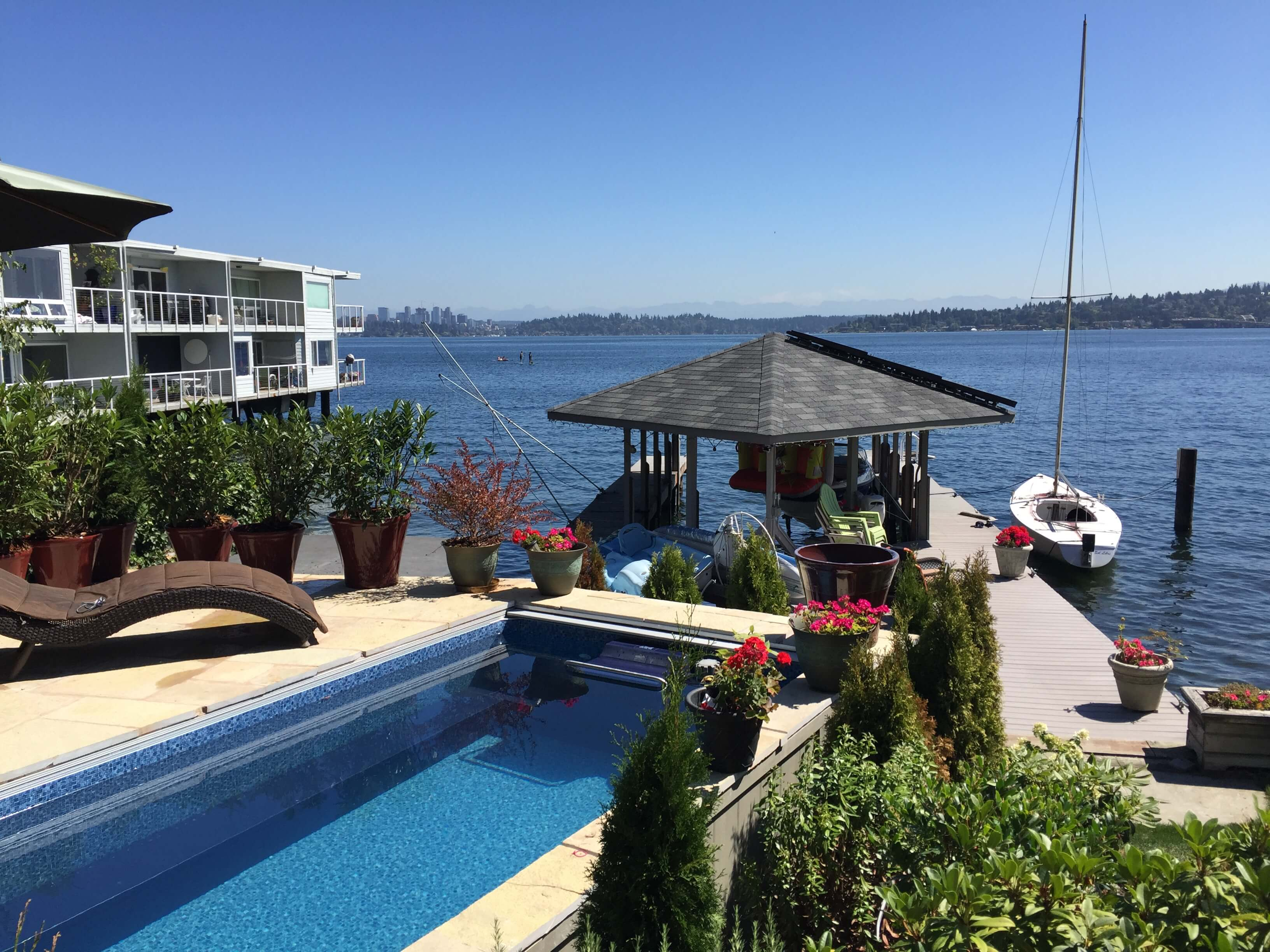 a fully in-ground Endless Pool alongside Lake Washington