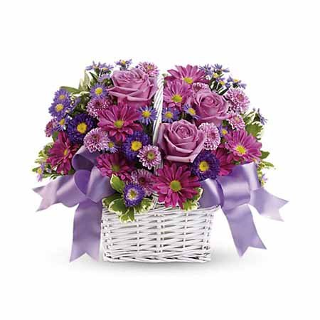 Purple Easter flowers delivery purple roses in white basket
