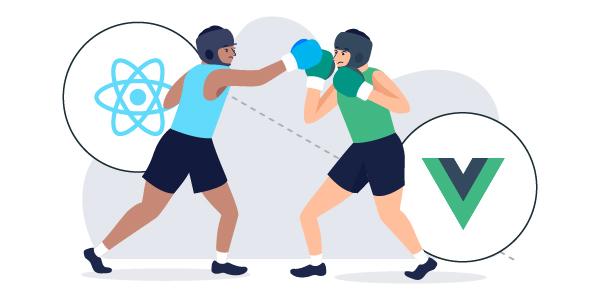 Illustration: Vue vs React boxers fighting