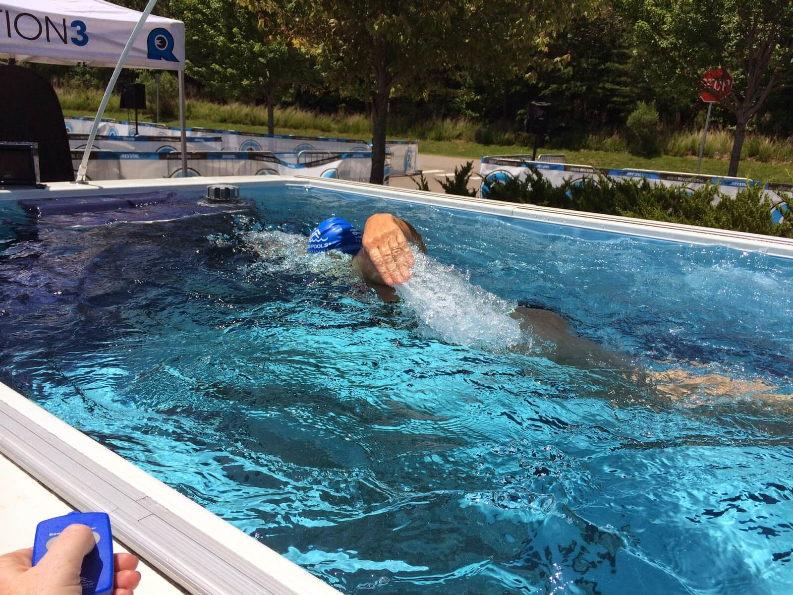 a triathlete picks up the pace in the Performance Endless Pool at the Rev3 Triathlon in Williamsburg, Virginia