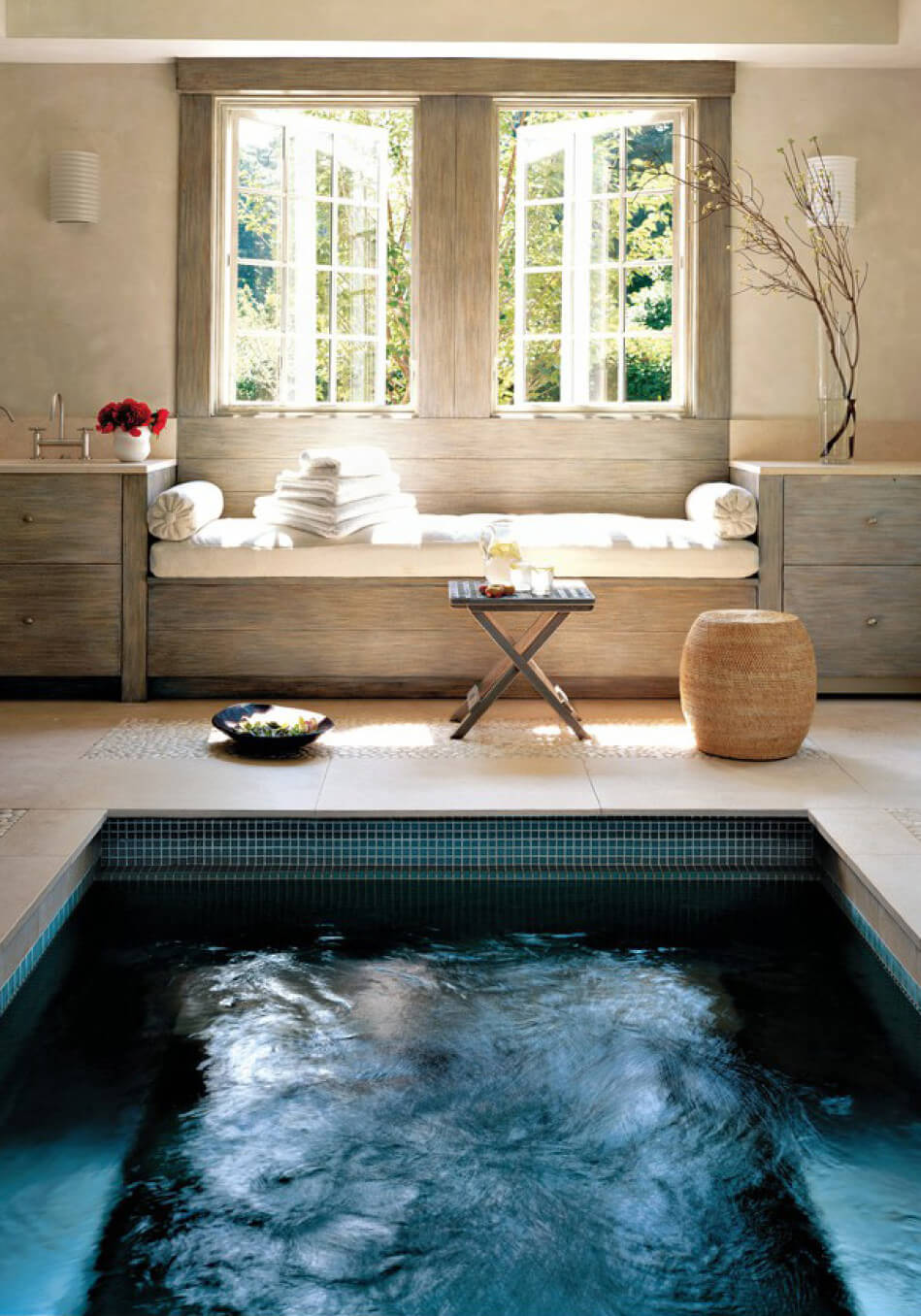 the indoor Endless Pool in designer Eileen Fisher's New York home