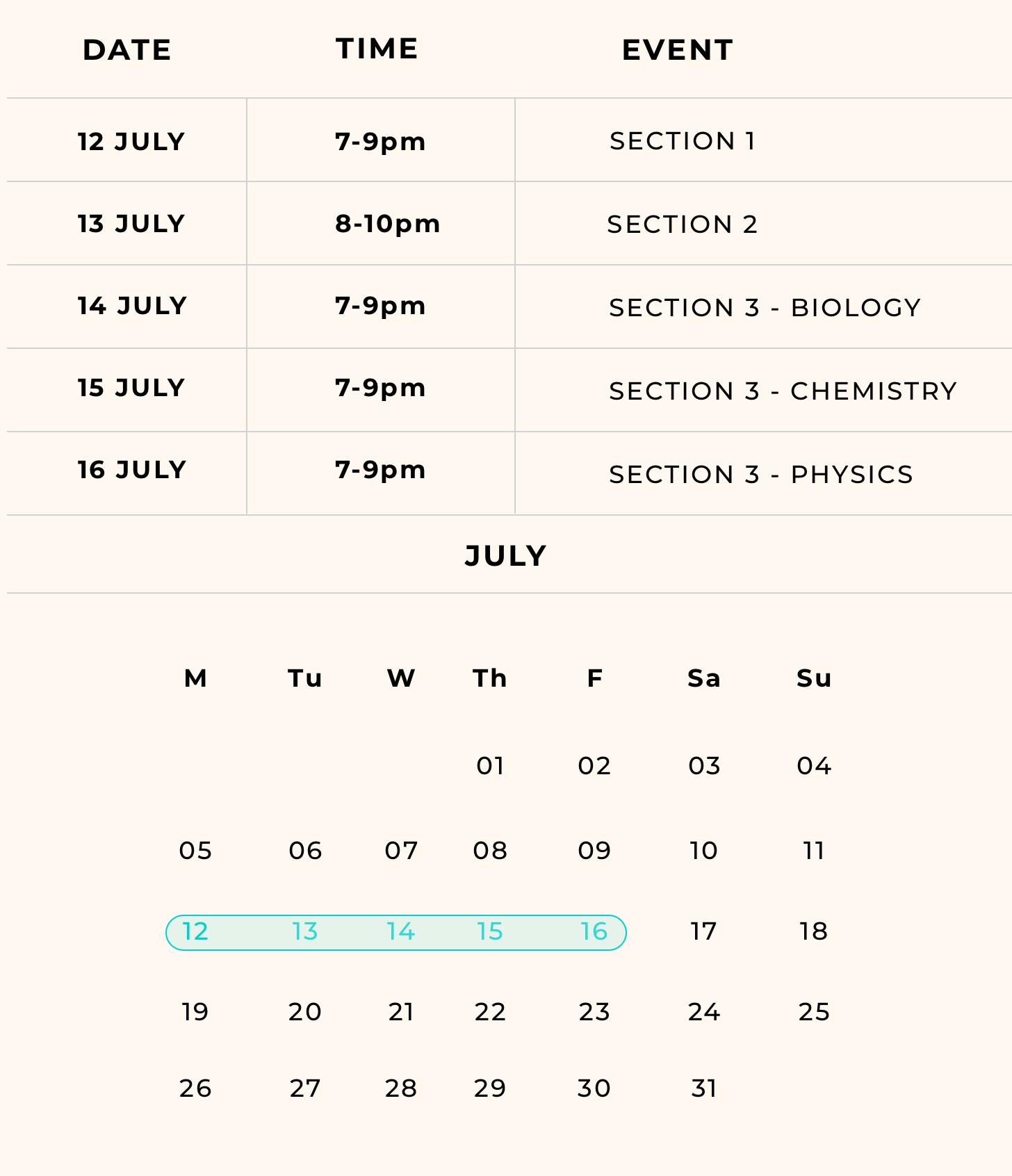 blueprint mock exam timetable
