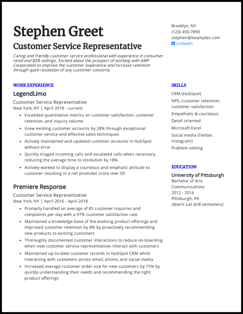 30 Customer Service Resume Examples For 30