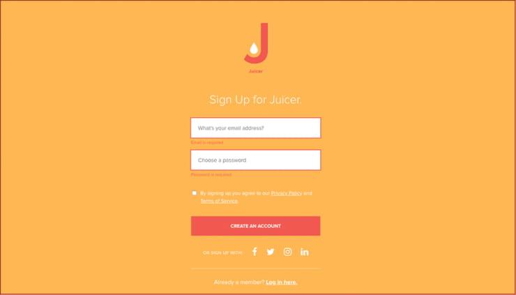 embed Facebook page Juicer sign up