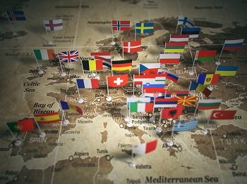 Image of European map with country flags