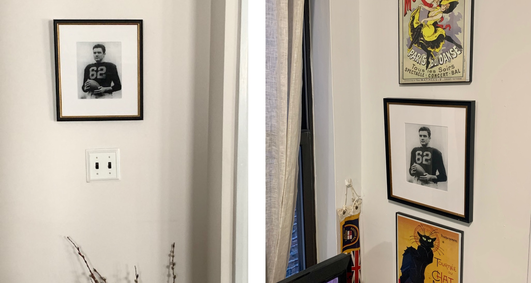 framed football portraits in two homes