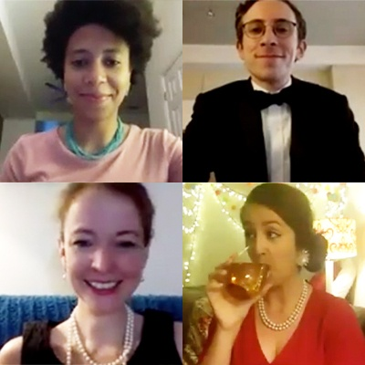 four people on zoom calls in fancy clothes