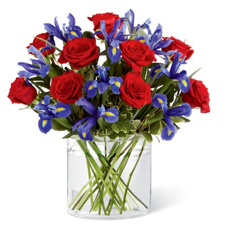 where iris flowers come from with red rose and blue iris bouquet
