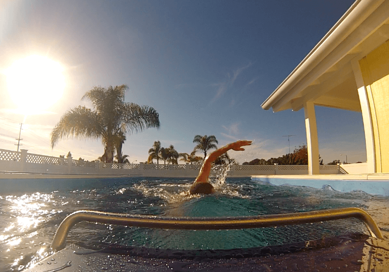 professional triathlete Luke McKenzie swimming in his Endless Pool