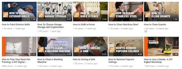 Home Depot Youtube social network