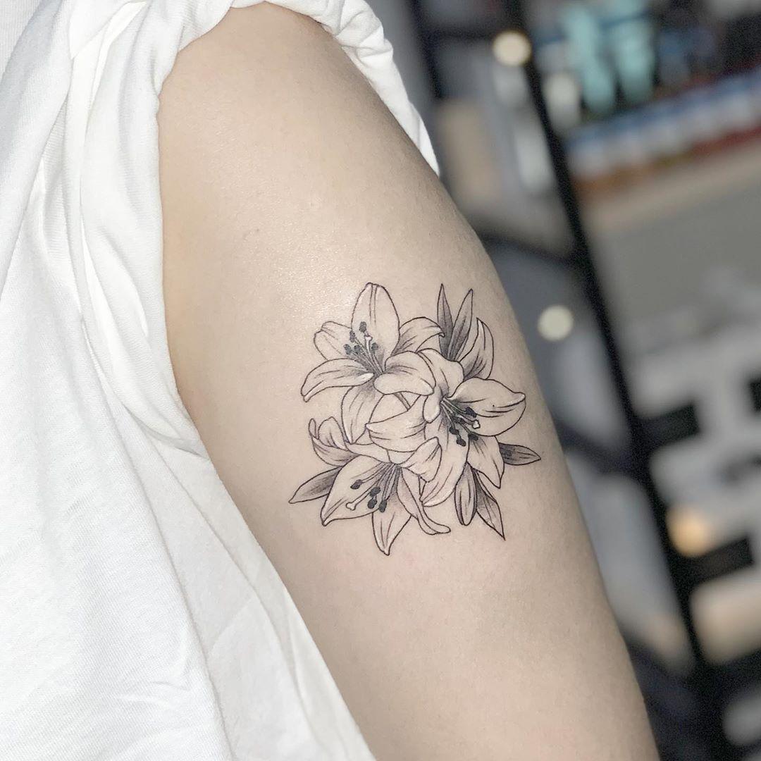 black and white lily tattoo