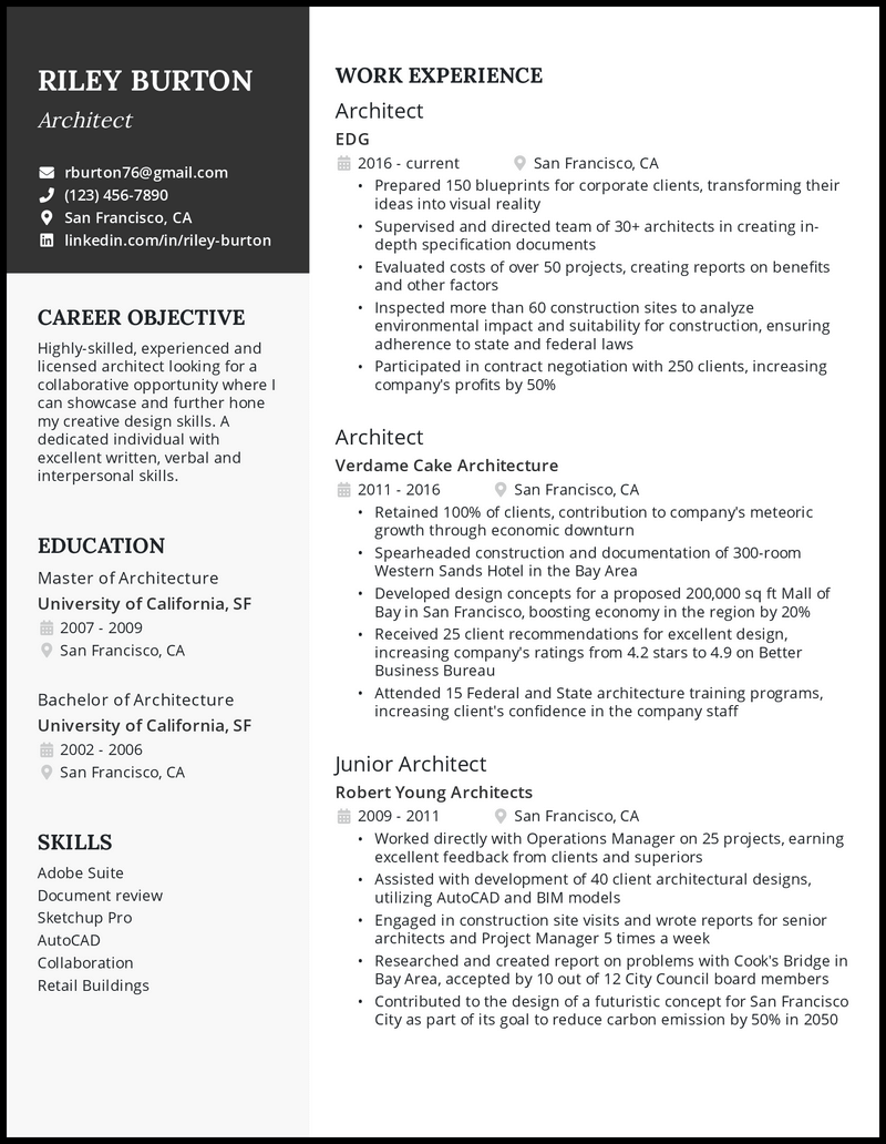 Architecture resume with 7 years of experience