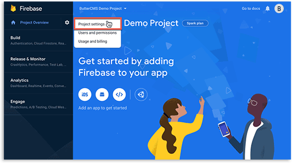 Screenshot: Firebase project settings