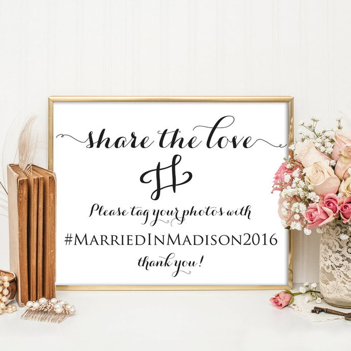 wedding hashtag signs and displays