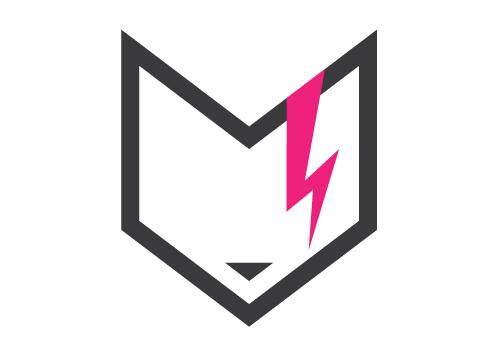 Rebel Cat Designs symbol logo version one - cat face with lightning
