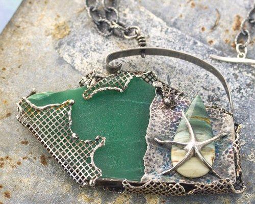 Ocean Jasper Starfish Pendant by Erica Stice