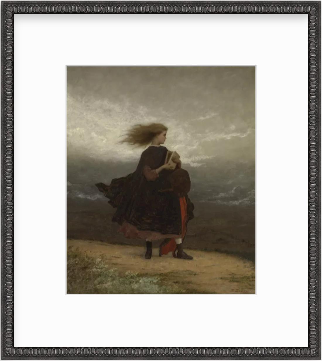 painting of girl in black frame