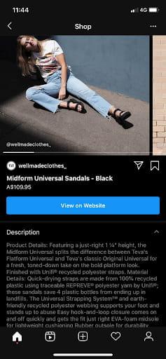 descriptions on Instagram Shopping