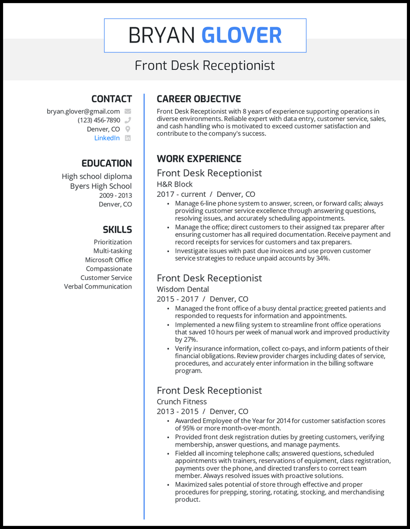 Front desk receptionist resume with 8 years of experience