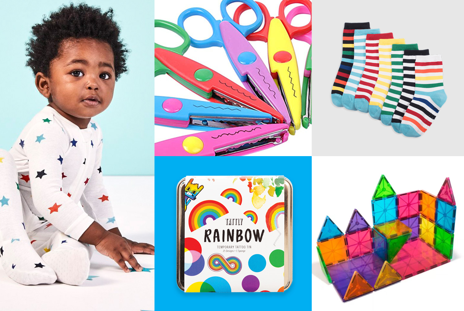 primary grid of rainbow gift items