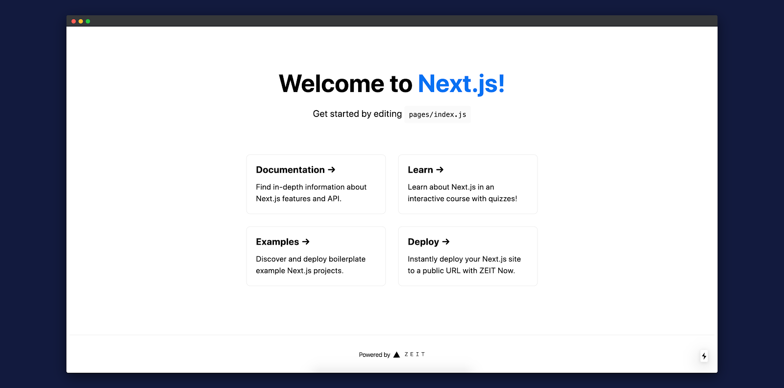 Screenshot: Next.js app on local