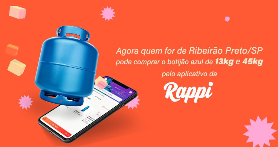 Agora você pode comprar seu botijão azul 13kg e 45kg pelo aplicativo da Rappi