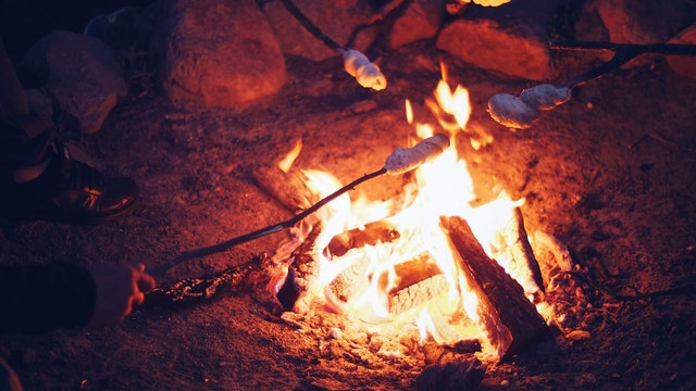 team building around the bonfire