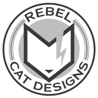 Rebel Cat Designs emblem logo grayscale