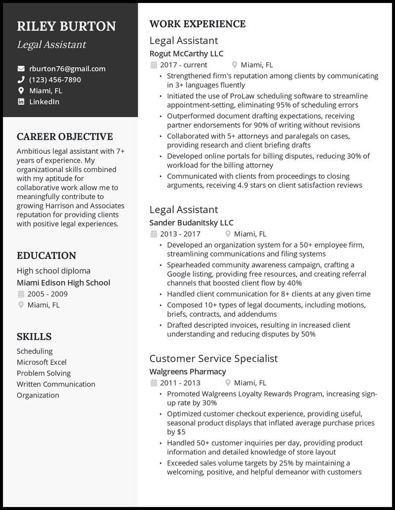 Legal assistant resume with 7+ years of experience