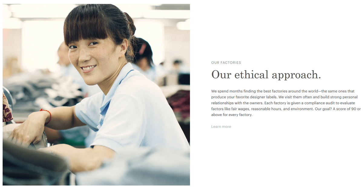 everlane ethics page from their website