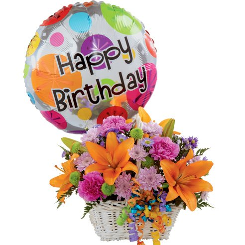 Happy birthday flowers for wife orange lily and birthday balloon bouquet