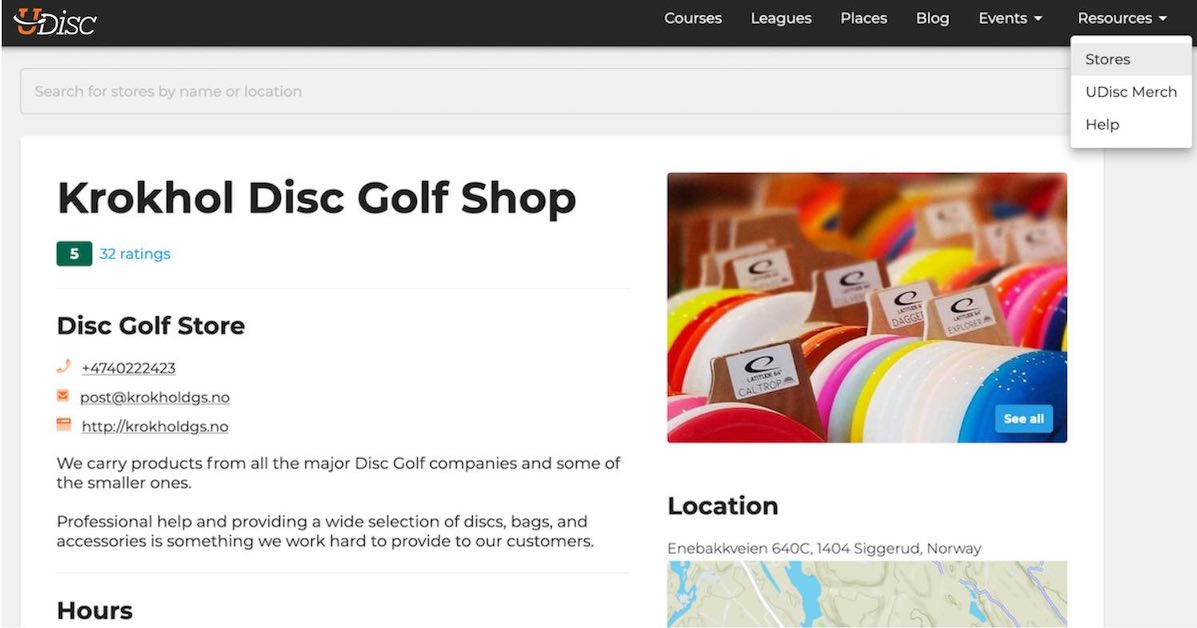 Search page on UDisc Stores for Krokhol Disc Golf