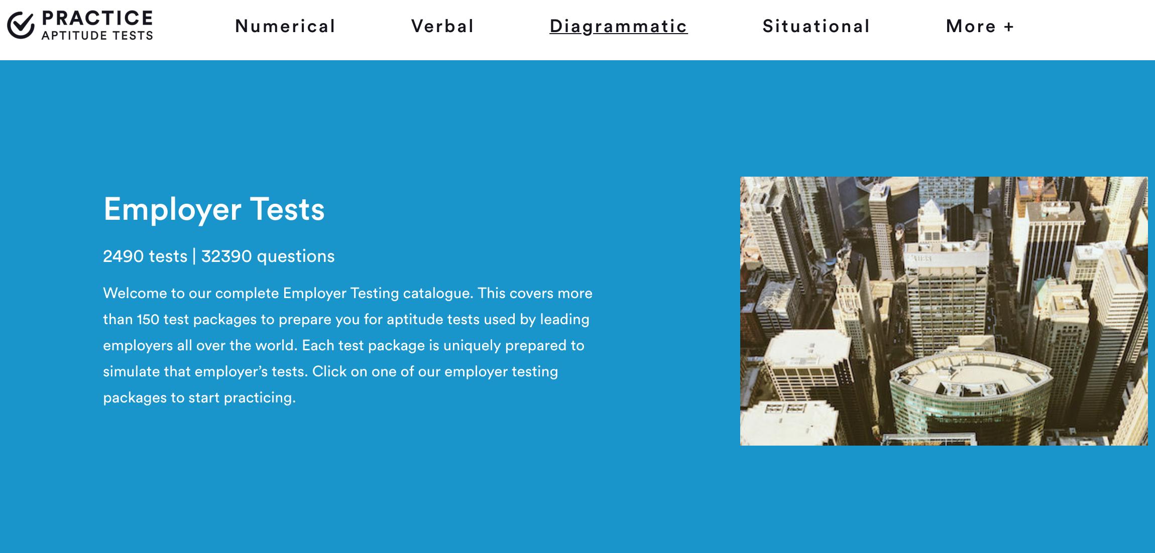 practice aptitude tests 网站的截屏