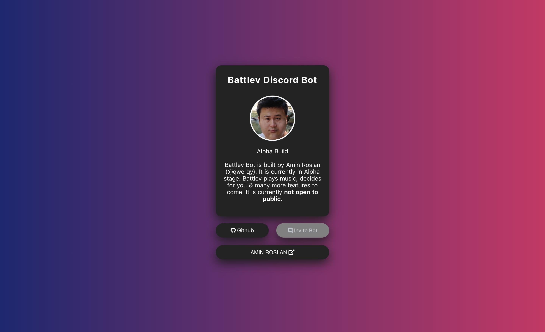Amin Roslan - Battlev, a Discord Bot