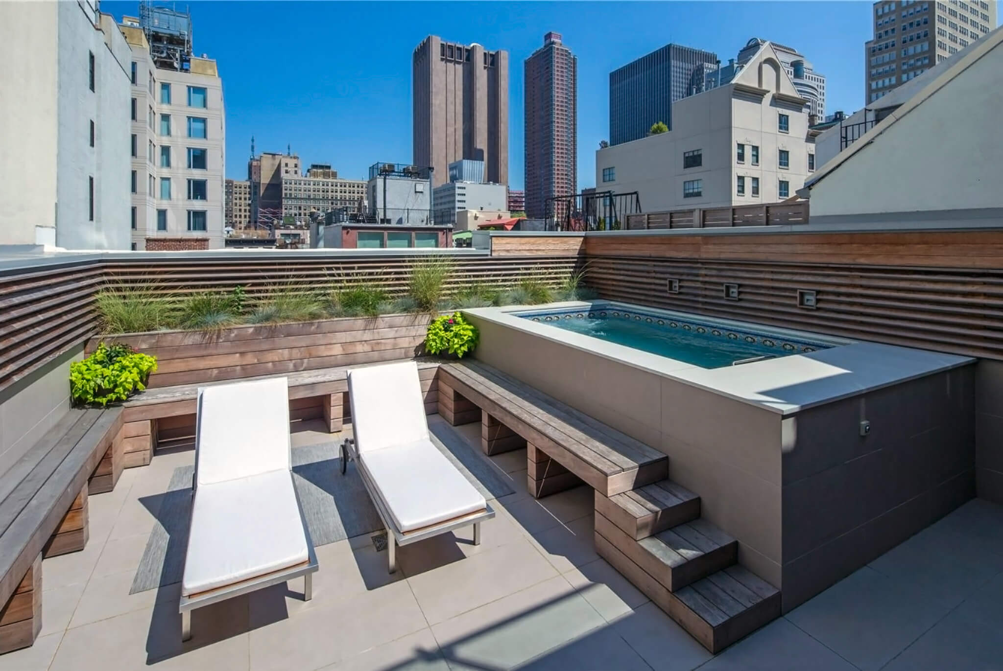 a rooftop Endless Pool in New York City's TriBeCa neighborhood